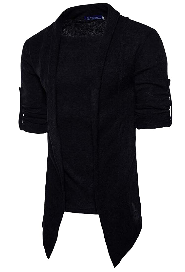 XXBlosom Mens Casual Faux Twinset Pure Colour Knits Cardigan Sweater Outwear