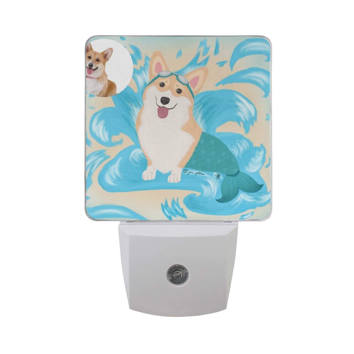 Night Light Corgi Pet Mermaid Led Light Lamp for Hallway, Kitchen, Bathroom, Bedroom, Stairs, DaylightWhite, Bedroom, Compact