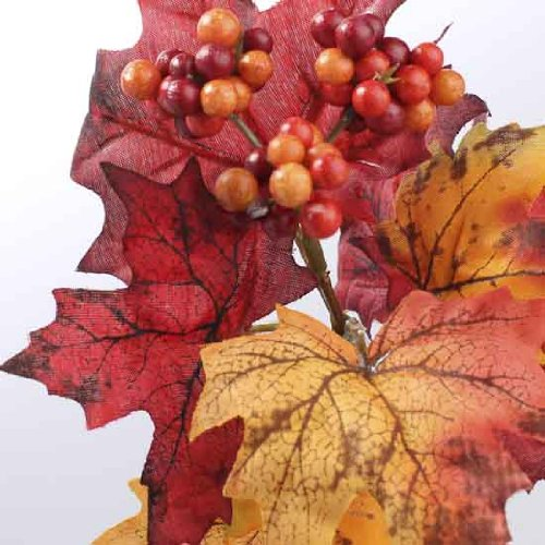 Package of 6 Vibrant Fall Inspired Artificial Silk Leaf Picks with Autumn Berries.