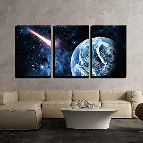 Red Planet in Beautiful Space x3 Panels