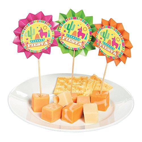 Fun Express - Fiesta Fan Pick for Cinco de Mayo - Party Supplies - Serveware & Barware - Picks & Stirrers & Parasols - Cinco de Mayo - 25 Pieces