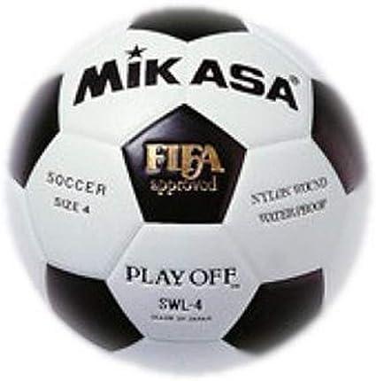 MIKASA SWL-4 - Balón de fútbol, Color Blanco/Negro, Talla 4 ...