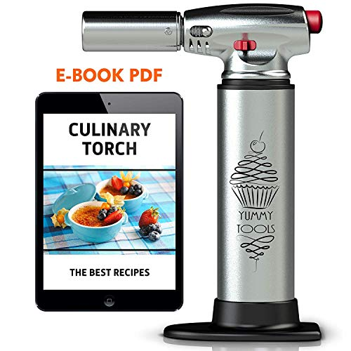 BEST CULINARY TORCH - Chef Torch for Cooking Crème Brulee - Aluminum Hand Butane Kitchen Torch - Blow Torch with Adjustable Flame - Cooking Torch - Perfect for Baking, BBQs, Crafts + Recipe eBook (Creme Plus)
