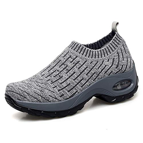 Women's Slip on Walking Shoes - Mesh Breathable Air Cushion Work Nursing Shoes Easy Casual Sneakers Stripe Light Grey ()