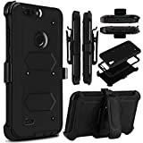 zte zmax swivel clip - KooJoee Black Armor Defender Case Compatible with ZTE Blade Z MAX/Sequoia Z982/ZMax Pro 2, Heavy Duty Shockproof[Kickstand][Swivel Belt Clip] Full Body Rugged Holster With Built-in Screen Protector