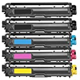 Calitoner TN225(5pk) Compatible Laser Toner Cartridge Replacement Brother for MFC-9130CW, MFC-9330CDW, MFC-9340CDW, HL-3140CW, HL-3170CDW Printer, 5 Piece