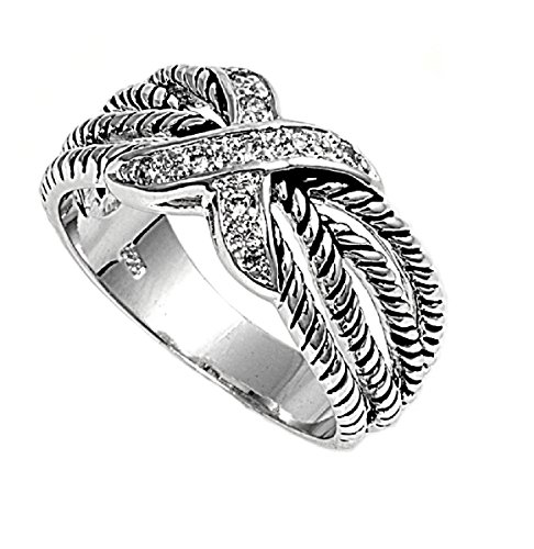 Cubic Zirconia X Knot Rope Ring 925 Sterling Silver Size 8