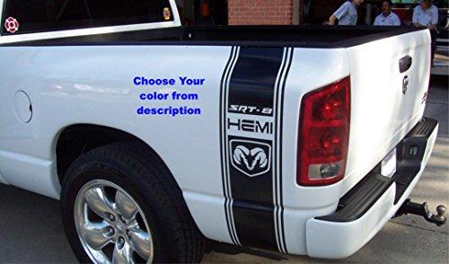 Dakota 1500 2500 Black Rear Side Bed Decals, SRT-8 4x4 Logo off road Stripes Vinyl Stickers, 5.7 L auto Graphics SRT hellcat, Mopar, Hemi Rebel (Dodge Dakota Srt)