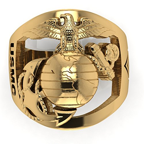 (Solid 14K Yellow Gold Marine Corps Ring with Open Back Eagle Globe and Anchor, USMC and GYSGT Rank)