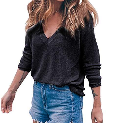 Cime Lunga V Sweater Fashion Maglieria Jumper Collo Inverno Sciolto Pullover Maglione Maglie Tops Casual Donna Autunno Manica a Simple Bluse Moda HUfzSS