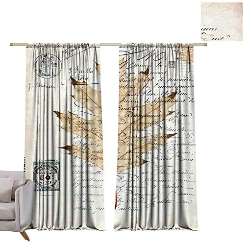- Blackout Bedroom Curtain Maple Leaf, English, White Background W96 x L96 Grommet Drapes