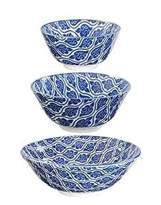 Tokyo Design Studio Nippon Blue rígida 21cm de diámetro, 15,2cm y 12cm (Juego de 3)