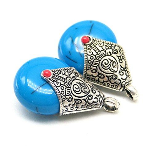 Beautiful Bead 2 pcs Teardrop Shaped Enamel Cloisonne Resin Jewelry Findings Pendants for Earrings Royal Blue