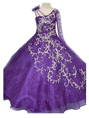 GreenBloom Little Girls' Bowknot One-Shoulder Long Sleeves Beaded Sequins Embroidery Pageant Ball Gown Evening Dress Purple 10