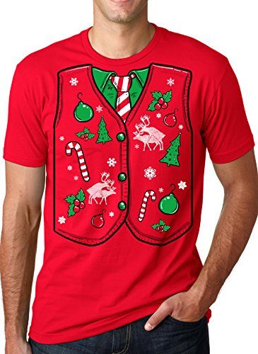 Ugly Christmas Sweater Vest T Shirt funny Xmas shirt 3XL (Ugly Xmas Sweaters For Men)