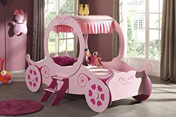 Carrozza da principessa da bambina, struttura letto singolo, 90 cm ...