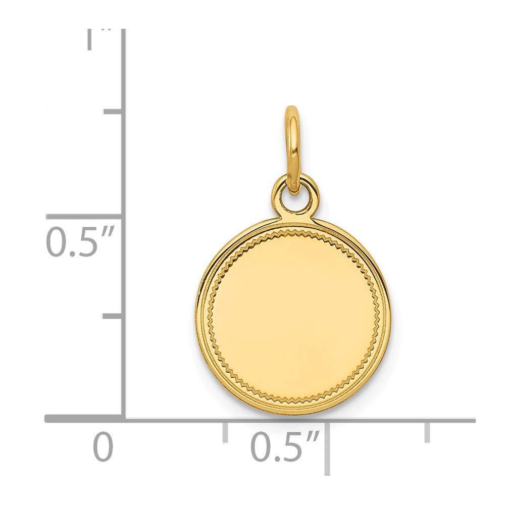 14K Yellow Gold .013 Gauge Engravable Round Disc Charm Pendant