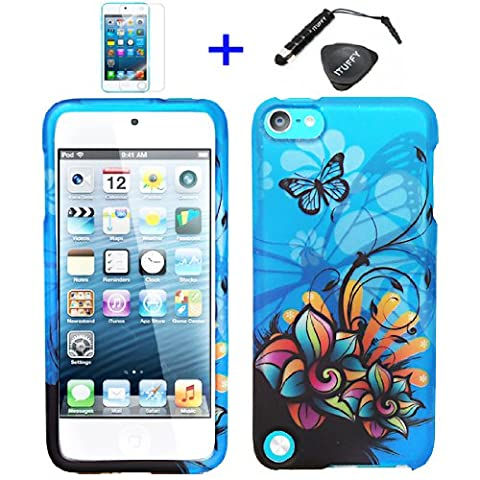 4 items Combo: ITUFFY (TM) LCD Screen Protector Film + Mini Stylus Pen + Case Opener + Blue Butterfly Orange Pink Green Color Daisy Flower Design Rubberized Snap on Hard Shell Cover Faceplate Case for Ipod Touch 5 (5th Generation Ipod - Case Faceplate Cover Ipod