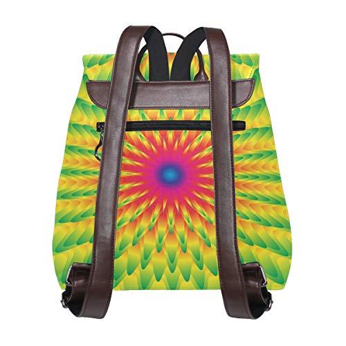 Abstrakt psykedelisk grön ryggsäck handväska mode PU-läder ryggsäck ledig ryggsäck för kvinnor