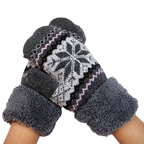 Binmer(TM)Women Winter Snow Warm Ladies Knitted Knitting Gloves Mittens (Grey)