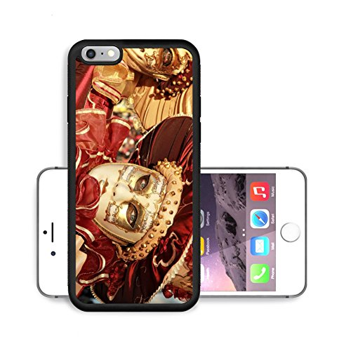 Liili Premium Apple iPhone 6 Plus iPhone 6S Plus Aluminum Backplate Bumper Snap Case Close up of a colourful mask in gold and red with music score Venice Carnival Photo 12473681 200