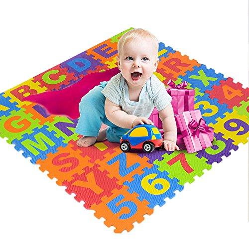 Kids Foam Puzzle Play Mat Alphabet Number Flooring Mat, 36Pcs Colorful Foam Puzzle, Crawling Exercise Flooring Mat Tiles…