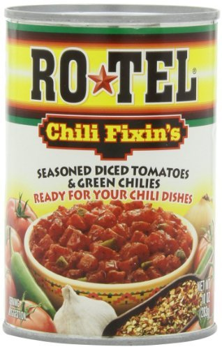 Ro-Tel, Chili Fixin's Seasoned Diced Tomatos and Green Chilis, 10oz Can (Pack...