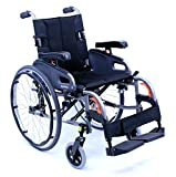 "Flexx Wheelchair 16""x18"" Ultra Lightweight With Quick Release Axles & Quick Release Rear Wheels, Folding Backrest, Color Diamond Black"