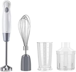 ALY Hand Blender Immersion Multi-Purpose, with Whisk, Milk Frother Attachments, Ergonomic Grip, Detachable, 400W, White