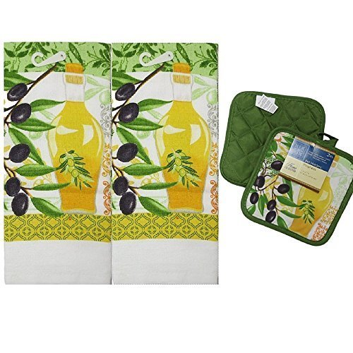 KItchen Towels and Potholder 3 Piece Yellow/Green Mother's Day Gifts, Chef Theme, Graduation, Housewarming, (Graduation Theme Ideas)