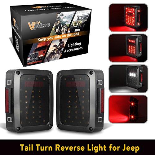 1 Pair Vplus for 2007 - 2017 Jeep Wrangler YJ JK CJ TJ LED Tail Lights Assembly Brake Turn Stop Reverse DRL Light Lamp
