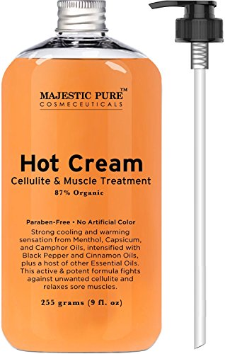 Majestic Pure Anti Cellulite Cream, 87% Organic, Tight Muscles & Joint and Muscle Pain, Natural Cellulite Treatment - Soothes, Relaxes, and Tightens Skin - 9 Oz Hot Creme