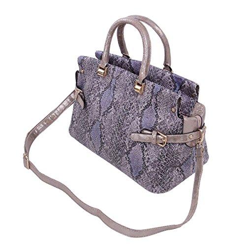 Snakeskin Print Tote - Premium Snake Skin Print Studded Satchel Tote Shoulder Bag Handbag, Purple