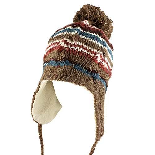 Morehats Multi Stripe Knit Pom Pom Handmade Trapper Aviator Beanie Winter Ski Warm Hat - Taupe