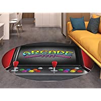 Video Games Area Silky Smooth Rugs Arcade Machine Retro Gaming Fun Joystick Buttons Vintage 80s 90s Electronic Home Decor Area Rug Multicolor