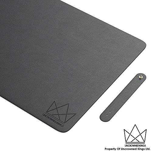 Uncrowned Kings Desk Pad - 31.5 X 15.7 Inches Premium Home Office Desk Mat Protector for Wooden, Glass Desktops - Black PU Leather - Waterproof - Extended Mouse Pad - Smooth for Writing - Desk Blotter (Desk Protector Glass)