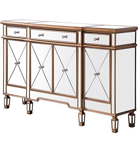 3 Drawer 4 Door Cabinet 60 in. x 14 in. x 36 in. in Gold (Hand Painted Six Drawer Chest)