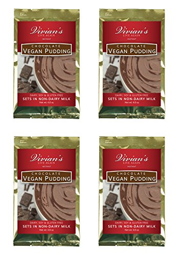 Vegan Chocolate Instant Pudding 4 Pk by Vivian's Live Again Dairy Free, Soy Free, Gluten Free (Vegan Pudding Mix)
