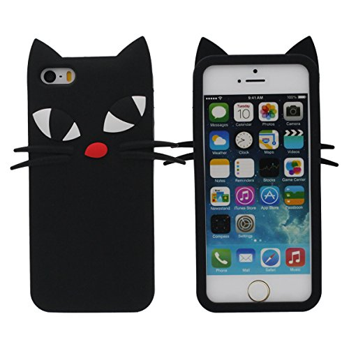 Souple iPhone 5 5S Coque, Noir Chat Forme Apparence Souple Silicone Case pour iPhone 5 5S 5C SE