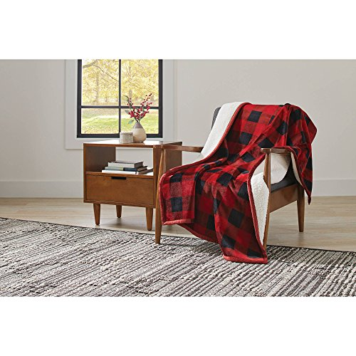 "Better Homes and Gardens Super Soft and Warm Winter Velvet Plush Reversible to Sherpa Throw Blanket, Fun Prints with Solid Cream Back, 50"" x 60"" (Red Plaid) from Better Homes & Gardens"