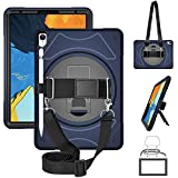 GEEKSDOM Case for iPad Pro 11' 2018 with Apple Pencil Holder, Heavy Duty Shockproof Rugged Full-Body Case with Pencil Holder/360 Degree Hand Strap/Kickstand and Shoulder Strap for iPad Pro 11 (Blue)
