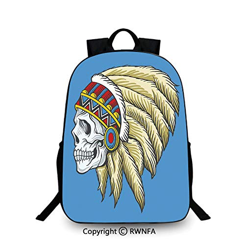 3D printing Customized school bag,Native American Dead Skull with Feathers Tattoo Folk Aztec Pattern Decorative Backpack Cool Children Bookbag, Violet Blue Cream Pearl