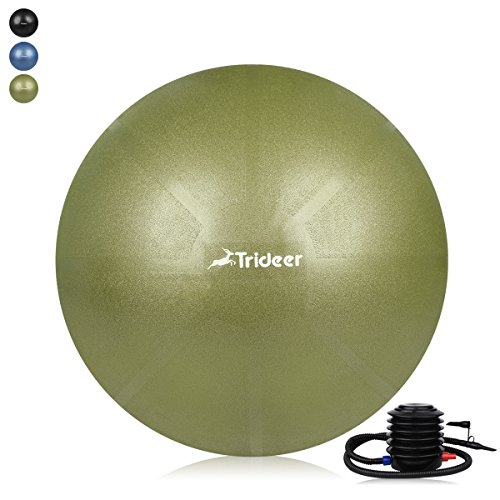 Trideer Exercise Ball (45-85cm) EXTRA THICK Yoga Ball Chair, Anti-Burst Heavy Duty Stability Ball Supports 2200lbs, Birthing Ball with Quick Pump (Office & Home & Gym) (Olive, 65cm)