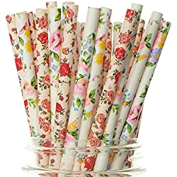 Wedding Flower Straws, Pink & White Floral Straws (50 Pack) - Wedding Party Favor Supplies, Formal Flowers Paper Drinking Straws