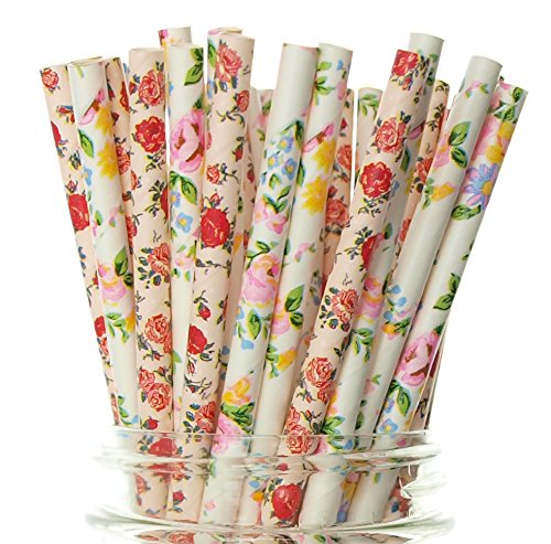 Wedding Flower Straws, Pink & White Floral Straws (50 Pack) - Wedding Party Favor Supplies, Formal Flowers Paper Drinking -