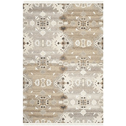 Safavieh Natural Kilim Collection NKM318A Flatweave Grey and Multi Wool Area Rug (8' x 10')