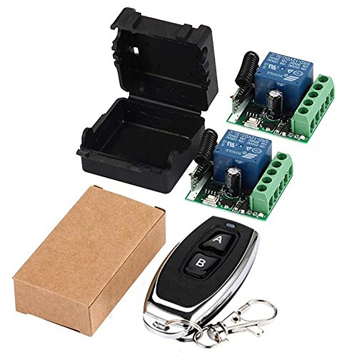 QIACHIP 433Mhz Universal Wireless Remote Control Switch DC 12V 1CH Relay Receiver Module RF Transmitter 433 Mhz Remote Controls (Transmitters 2 Button+ 2 Receiver 1CH)