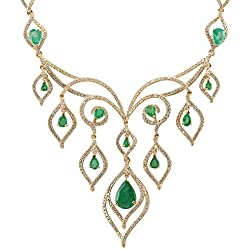 14.80 Carat Natural Emerald And Diamond Necklace In 14K Yellow Gold