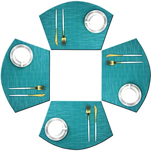 Bright Dream Wedge Shape Placemats for Round Dinner Table Woven Vinyl Non Slip Plastic Table Mats Set of 4(Blue)