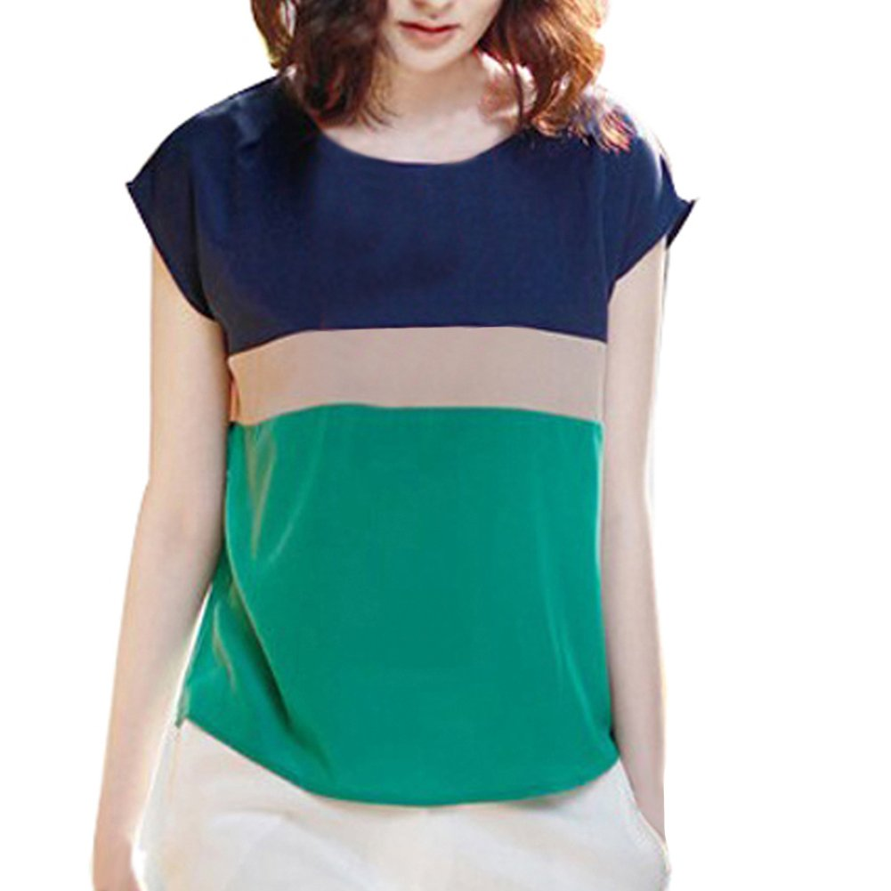 VOBAGA® Women's Loose Casual Stripe Color Collision T-Shirt Tops Blouse Green M WS1061-1-M